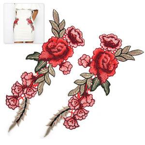 2stk-29cm-Rose-AufnAher-Stickerei-Blume-BUgelbilder-Patch-DIY-Erwachsene-Deko