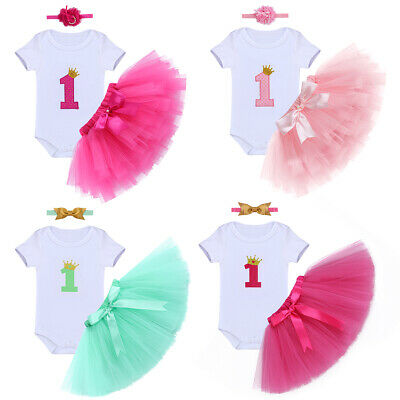 Baby Säugling Mädchen 1 Geburtstag Party Outfit Cake Smash Tutu Rock Body 3tlg