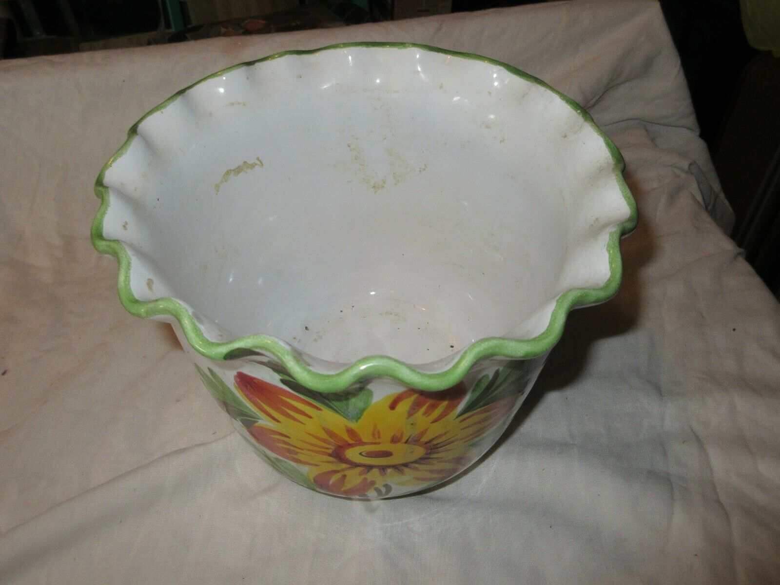 "Bowl , Yellow Flower , Vintage , 5""X6""X8"""