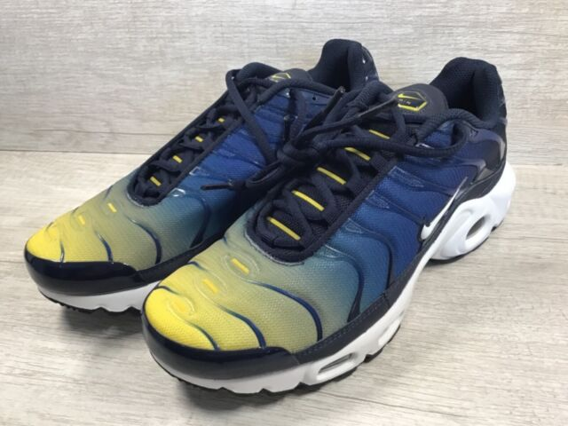 online store 87d7a 33271 Men's Nike Air Max Plus TN Gradient Running Shoes. Blue/Yellow 852630-407  SZ 7.5