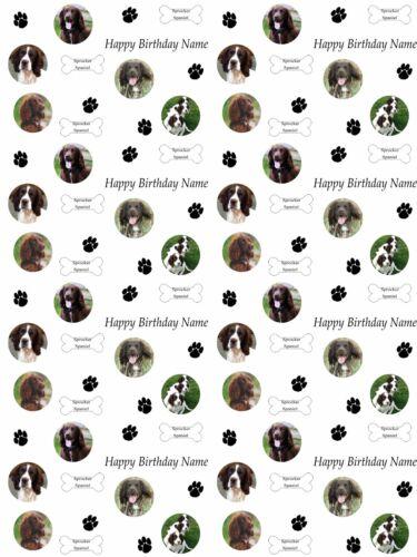 Sprocker Spaniel Personalizado De Cumpleaños Añadir Nombre elegir fondo de envoltura de regalo