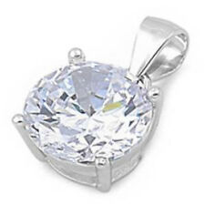 3 CARAT ROUND WHITE CZ PENDANT .925 Sterling Silver Pendant Necklace