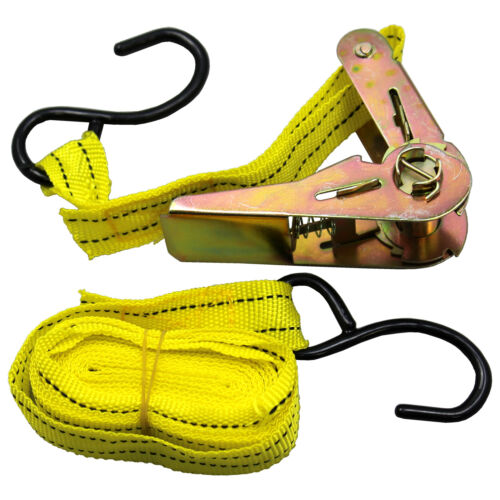 """US SELLER ~ Ratchet Tie Down Cargo Strap 1/"""" inch x 13/' Ft with S Hook ~Brand New"""