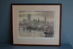 Framed & Signed Limited Edition Print by Ley Kenyon of The River at Westminster