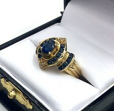 Estate 14K Gold 1ct All-Natural Cobalt Blue Sapphire and Diamond Ring  Size 6