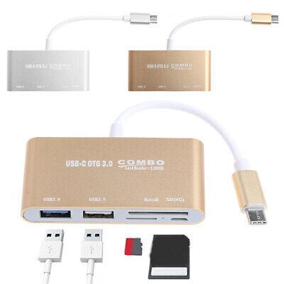 Type-C OTG Adapter USB 3.0 Hub SD//TF Multi-Card Reader Combo For Laptop Macbook
