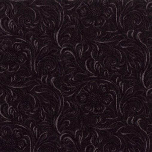 KING OF THE RANCH~BY 1/2 YD~MODA BLACK TOOLED LEATHER COTTON PRINT~11216-16