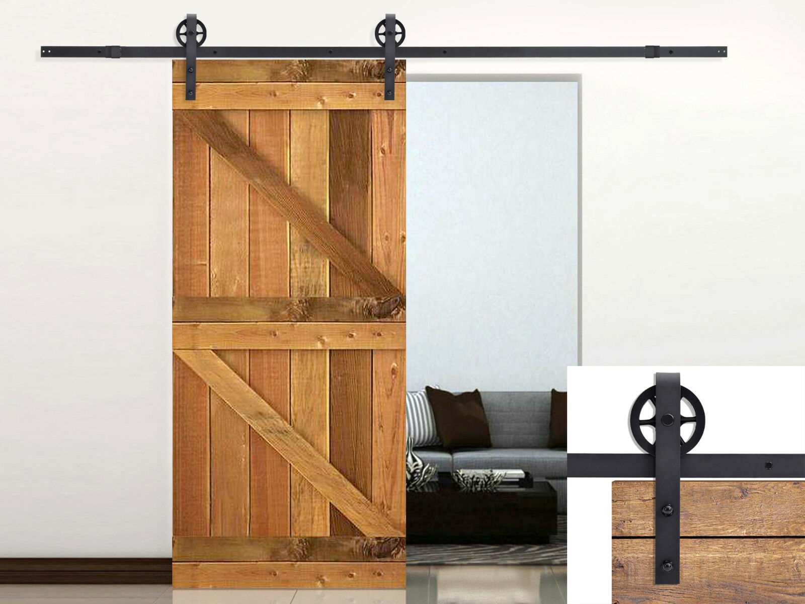 ft vintage strap industrial wheel steel black barn wood sliding door