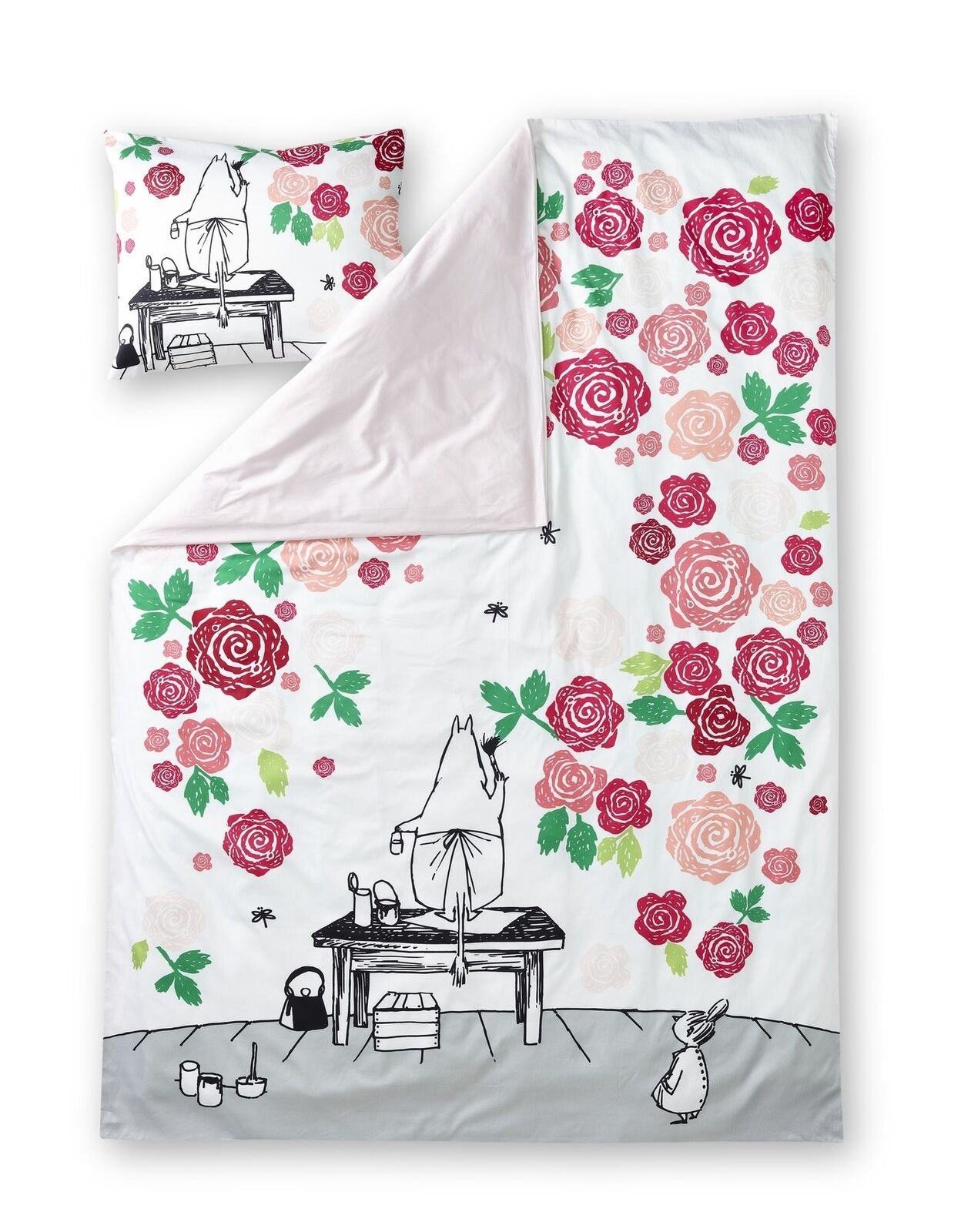 Moomin Sateen Duvet Cover Pillowcase Moominmamma pink Garden 150 x 210 cm