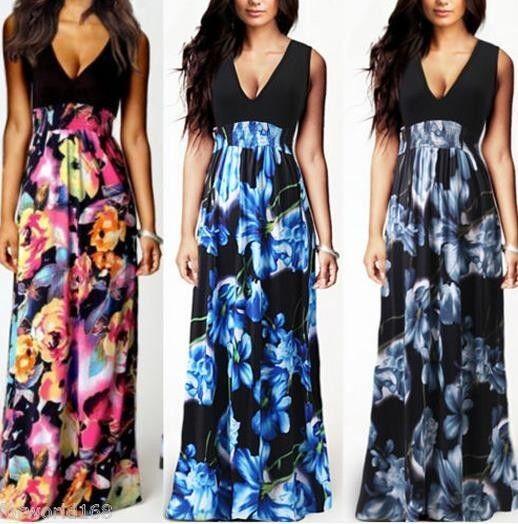 Women's Boho Hippie Sexy Summer Evening/Cocktail/Party Sundress Long Maxi Dress