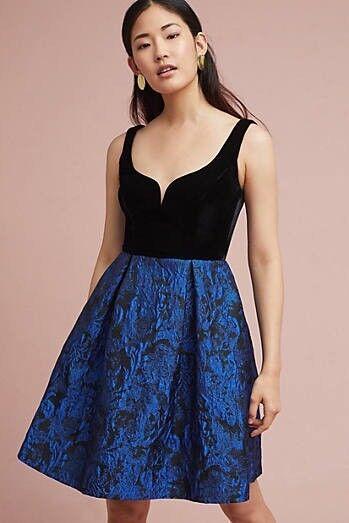 e71161d491 Anthropologie Donna Morgan Black Blue Metallic Velvet & Jacquard Dress 6  for sale online   eBay