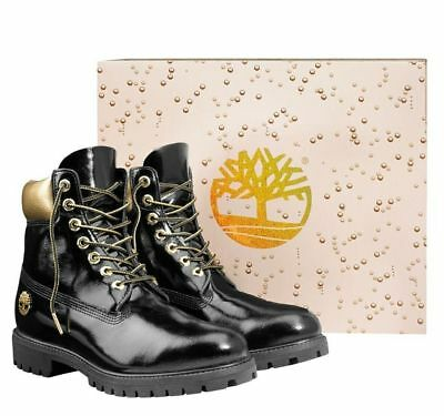 "Timberland Mens Premium Limited Edition 6/"" Inch Champagne Boots Black Gold A1U6J"