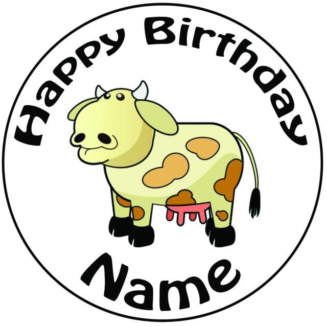 Personalised Birthday Farm Cartoon Cow Round 8 Easy Precut Icing