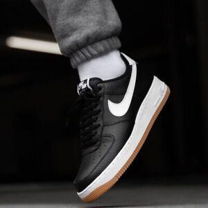 MENS NIKE AIR Force 1 Low Top Sneakers New, Grey Black Gum