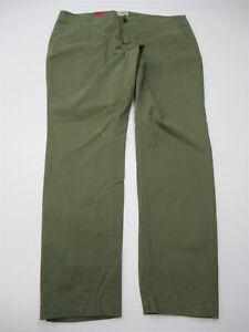new-MERONA-Pants-Women-039-s-Size-16-Cotton-Stretch-Mid-Rise-Green-Slim