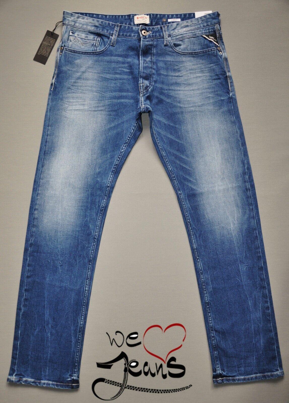 REPLAY NEWBILL M955 010 010 010 Dritto Nuovi Jeans Da Uomo Uomo Pietra stretch blu taglie c40fff