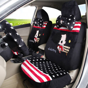Cute Fashion Girl Furry Car Seat Cover Sitting Cushion Comfortable Red Black Ebay