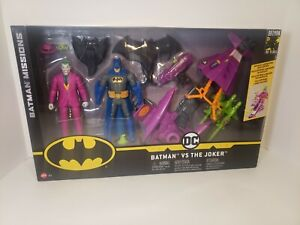 Batman-Missions-Batman-Vs-Joker-2-Pack-6-034-Action-Figures-amp-Vehicle-DC-Mattel-New