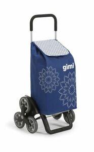 Gimi Tris Floreal Carrello Portaspesa Porta Spesa 3+3 Ruote Trolley Scale Blu