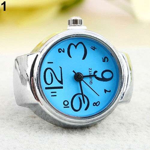 Women Girl Fancy Exclusive Steel Round Elastic Quartz Finger Ring Watch