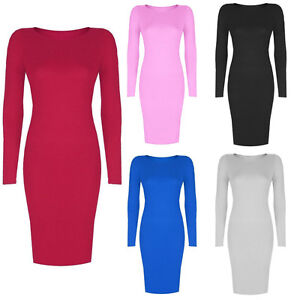 WOMENS-LADIES-LONG-SLEEVE-MIDI-DRESS-STRETCH-BODYCON-PLAIN-JERSEY-MAXI-PLUS-size