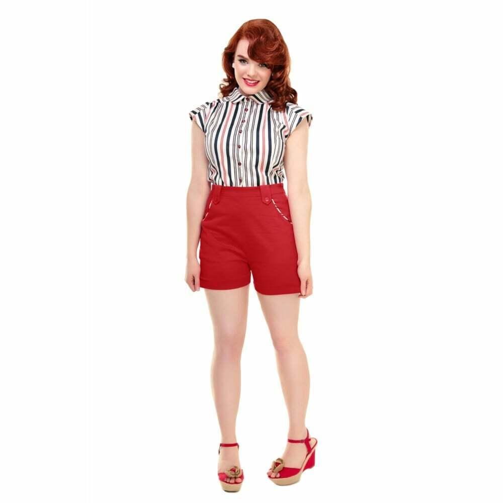Collectif Vintage Tilly Nautical Trim Shorts Red UK 18