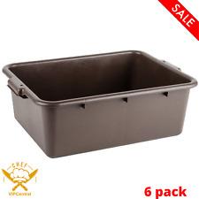 6 Pack Restaurant Bar Plastic Bus Tubs Nsf Brown Dish Box 22 X 1575 X 7 In