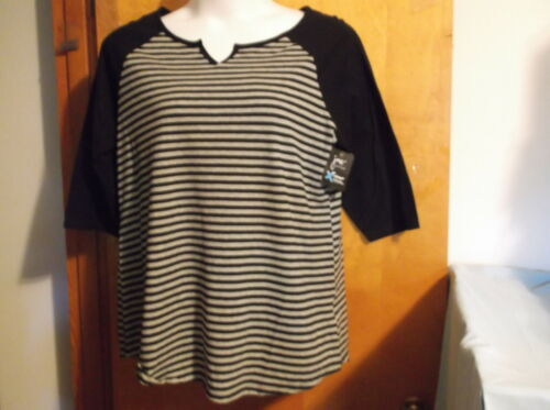"""NEW  /""""JUST MY SIZE BLACK w// GREY STRIPE SCOOP NECK PULLOVER w// 3//4 SLEEVES"""