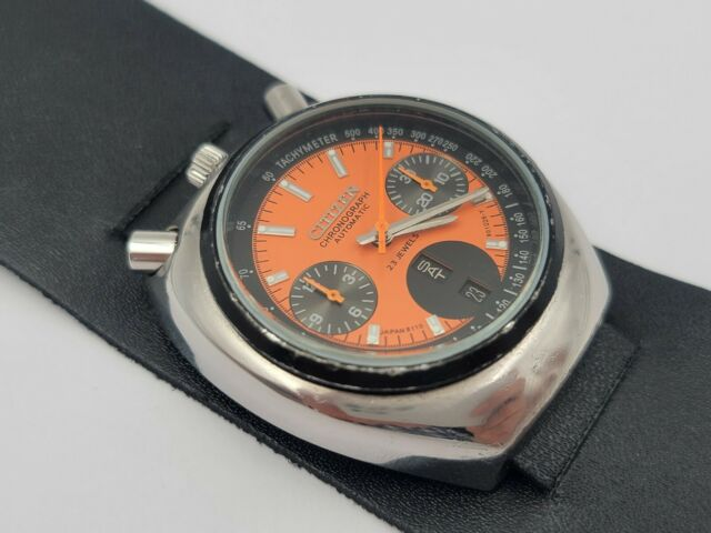 Vintage CITIZEN Bullhead 67-9011 Automatic Chronograph AM Orange Dial - WORKING