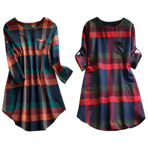 Womens Causal Long Sleeve Shirt Dress Check Plaid Blouse Tee Tops Mini Dress8-22