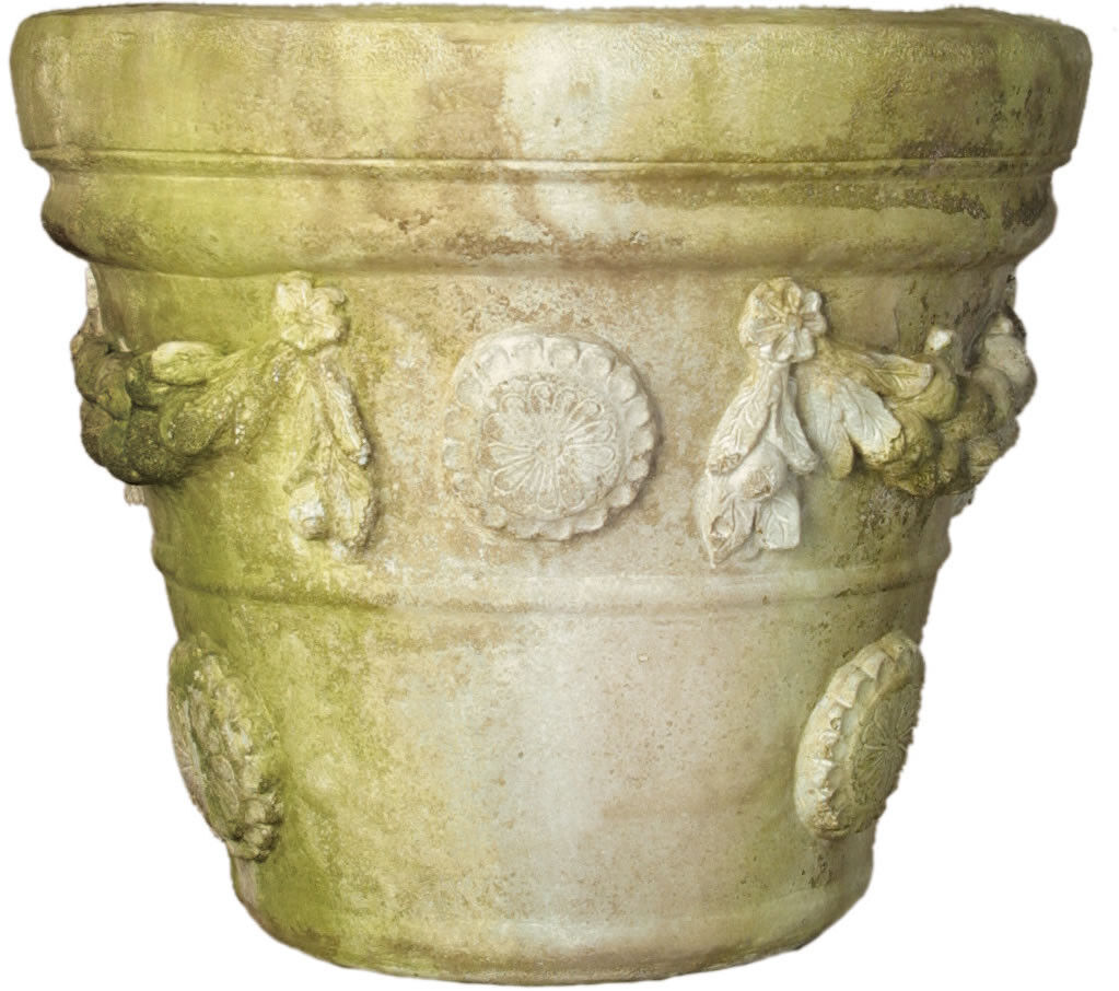 Boboli Round Garden Pot Planter Orlandi Statuary-13 H- Made of FiberstoneFS69599