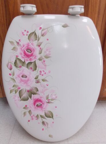 HAND PAINTED ROSES TOILET SEAT//HOT PINK//PINK//ELONGATED//NEW COLORS BY MB