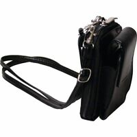 Genuine Leather Accordion Wallet W/ Strap & Phone Holder, Black Women & Men Case