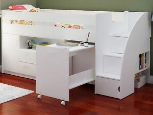 White Mid Sleeper Cabin Bed With Stairs Storage And Desk