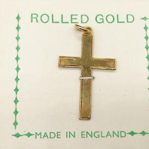 VINTAGE 9ct ROLLED GOLD PLAIN STANDARD 2 CM CRUCIFIX CROSS PENDANT