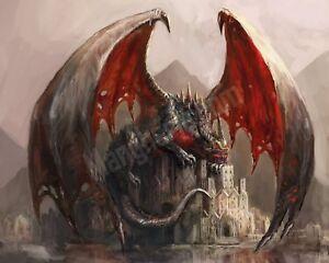 Quadro-legno-50-x-40-cm-stampa-in-alta-qualita-fantasy-drago-custode-castello