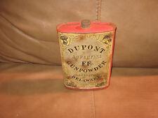 Dupont Superfine FFg Gunpowder Wilmington Delaware paper label Tin
