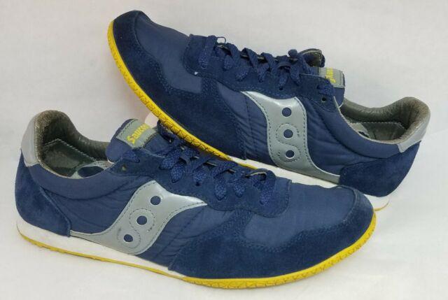 Men's Saucony Originals Bullet Trainers Shoes Blue Suede Yellow 2943-91 Size 11