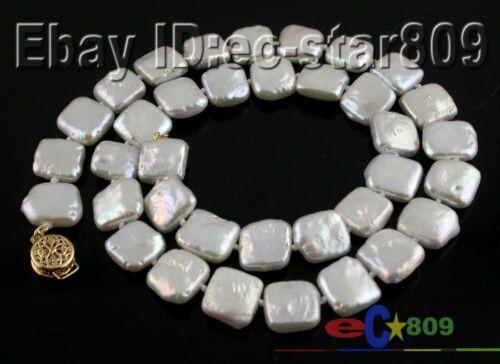 """P541 Nature 17/"""" 12 mm carré blanc d/'eau douce collier de perles"""