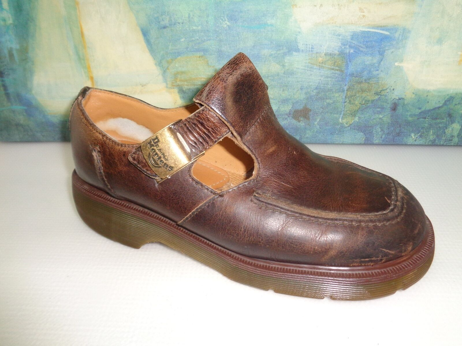 Dr Martens 8469 Uk 8 US 10 Wouomo Marronee Leather Mary Janes T Strap Bar