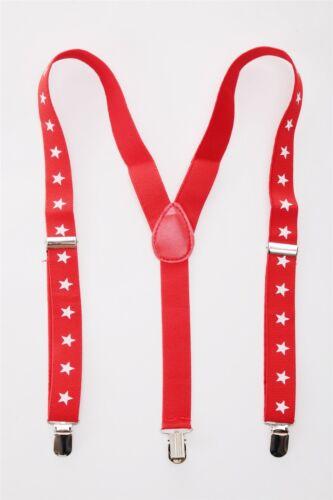 Halloween Carnaval Bretelles pour Pantalon Rouge Blanche Étoiles Cowboy W 060
