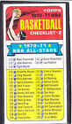 1970-71  CHECKLIST (MARKED) - Topps