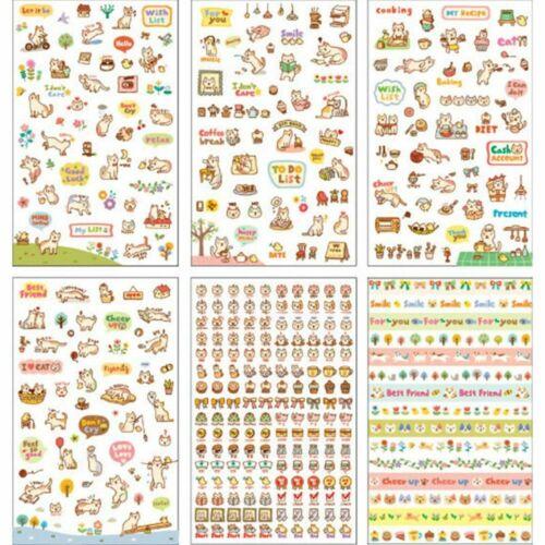 6 sheets//set DIY Cute Cartoon Cat Paper Sticker for Scrapbooking Diary Kids