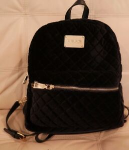 Image Is Loading New Wt Bebe Large Black Velvet Quilted Backpack