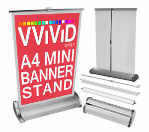 Mini retractable table a4 counter banner tradeshow stand for Table bar retractable