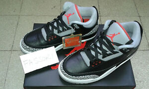 Nike-Air-Jordan-3-III-Black-Cement-Men-size-not-GS-US-7-EU40-854262-001-nuove