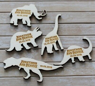 Favours DINOSAURS Jurassic Park Wooden PERSONALISED Wedding Table Confetti