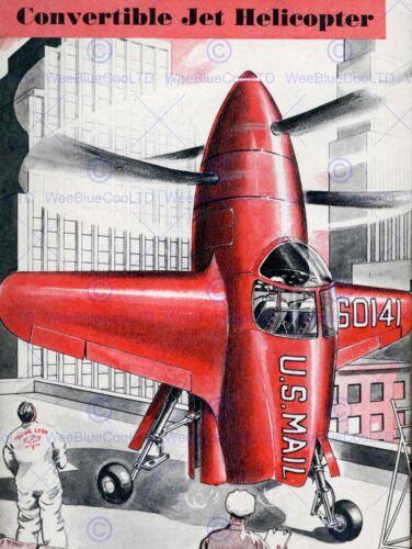ADVERT 1948 JET HELICOPTER FLIGHT AEROPLANE RED FINE ART POSTER CC2686