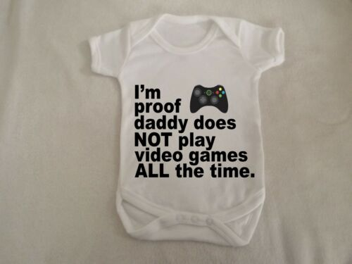 i/'m proof daddy play games  colour writing vest up to 18 months sizes available