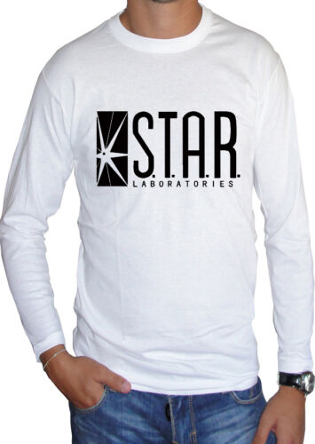 Fm10 Long Sleeve T-Shirt Unisex Flash Logo Star Labs Laboratories Cinema/&tv